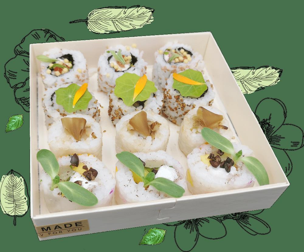 YUZU VEGE Box de sushis sucrés et fleuries