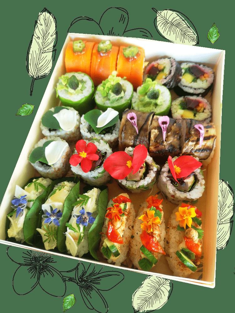 Assortiment végétal de sushis, makis et rolls YUZU VEGE produits frais
