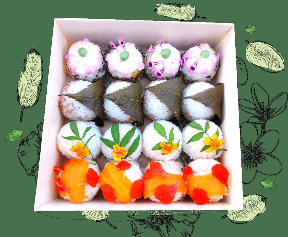 Plateau signature végétale composé de temari sushis (sushis ronds) farcis et décorés avec élégance